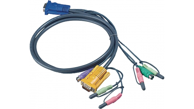 Aten 2L-5302P Kvm Kabel Vga Male / 2x Ps/2-connector / 2x 3.5 Mm Male - Sphd15-y / 2x Connector 3.5 Mm 1.8 M