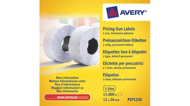 Avery AV-PLP1226 Prijstangetiketten Permanent 26x12mm Wit 10 Rol In Doos