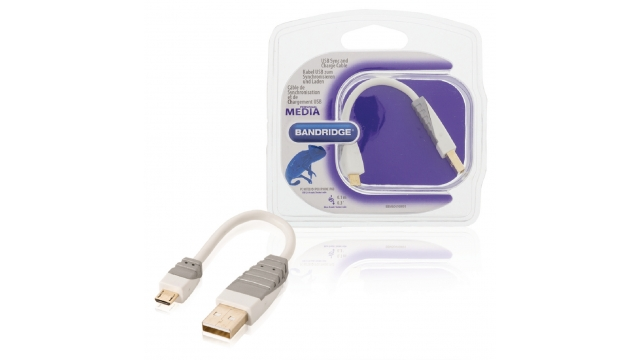Bandridge BBM60410W01 Usb 2.0 Kabel A Male - Micro-b Male Rond 0.10 M Wit