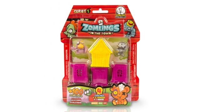 Magicbox Zomlings Series 1 In The Town + 4 Zomlings/3 Torens/1 Huis