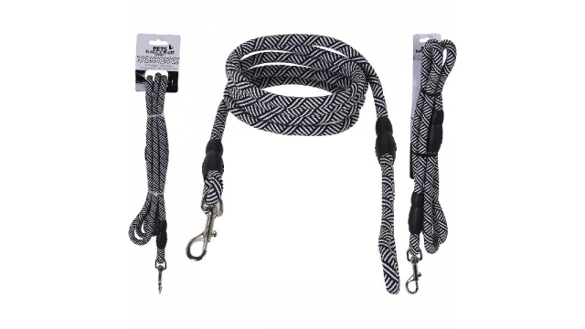 Pets Black and White Collection Hondenriem 130cm Zwart/Wit