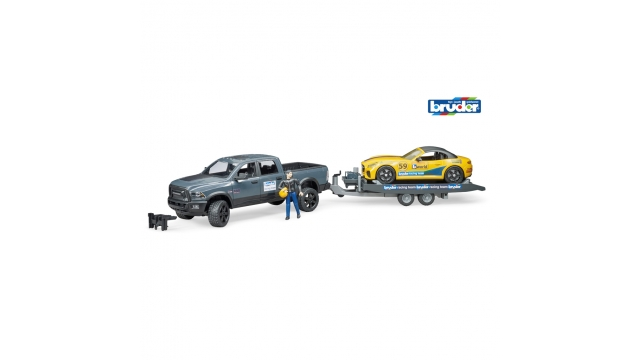 Bruder 02504 RAM Power Wagon en Roadster Bruder Racing Team + Figuur 1:16
