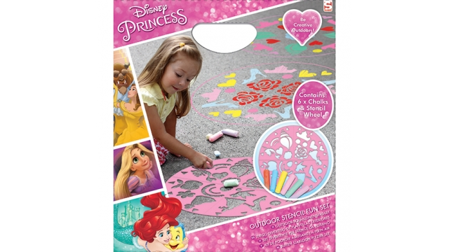 Disney Princess Stoepkrijt Set met Sjabloon