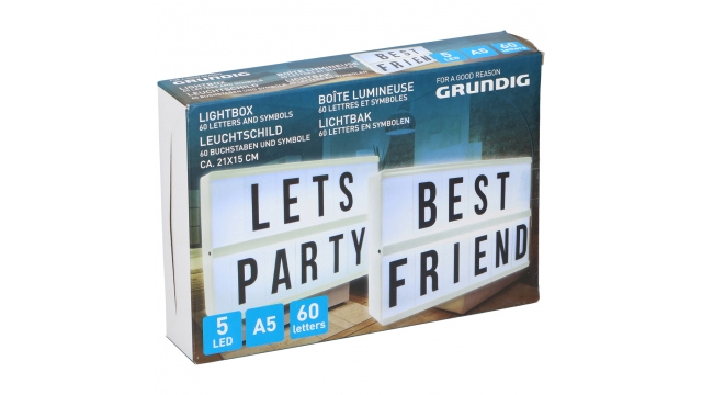 Grundig LED-Lichtbox met 60 Letters 21x15x4 cm