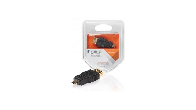 König KNC60901E Usb 2.0 Adapter Micro B Male - A Female 1 Stuk Grijs