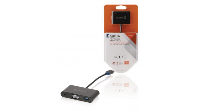 König KNC64765E02 Usb 3.1 Adapter Usb-c Male - Usb A Female / Usb-c Female / Hdmi-uitgang Antraciet
