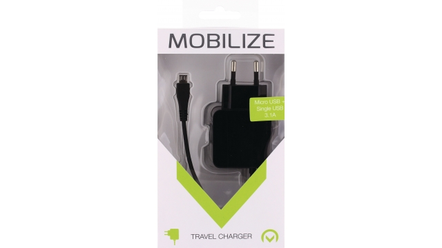 Mobilize MOB-21232 Lader 2 - Uitgangen 3.1 A Micro-usb Zwart