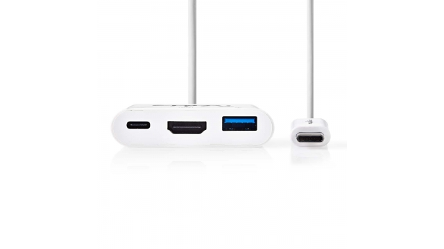 Nedis CCGP64765WT02 Usb-c™-adapterkabel Type-c™ Male - Usb-a Female + Type-c Female + Hdmi™-uitgang 0,2 M Wit