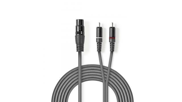 Nedis COTH15220GY15 Xlr-audiokabel Xlr 3-pins Female - 2x Rca Male 1,5 M Grijs