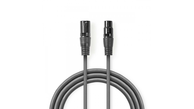 Nedis COTH15012GY10 Digitale Dmx-kabel 110 Ohm Xlr 3-pins Male - Xlr 3-pins Female 1,0 M Grijs