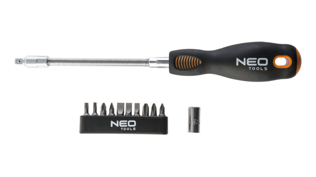 Neo Tools Flexibele Schroevendraaier Incl 12bits CRMO Staal TUV M+T