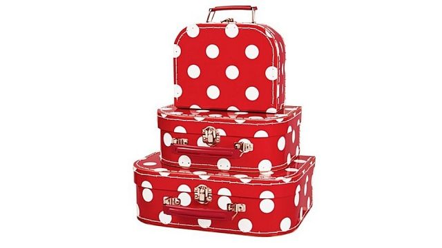 Simply for Kids 3-Delige Kofferset Polkadot Rood