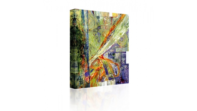 Sound Art Canvas + Bluetooth Speaker Green Abstract Image