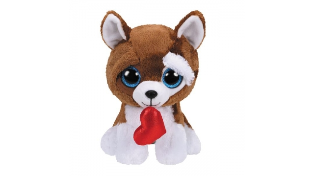 TY Beanie Buddy Knuffel Hond Smootches met Hartje 24 cm