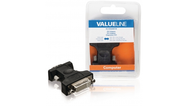 Valueline VLCB32901B Vga-adapter Vga Male - Dvi-i 24+5-pins Female Zwart